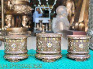 Bát Hương Đồng Đỏ Khảm Chữ Vàng