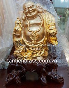 Tượng Phật Di Lặc Đứng Dát Vàng Cao 30cm