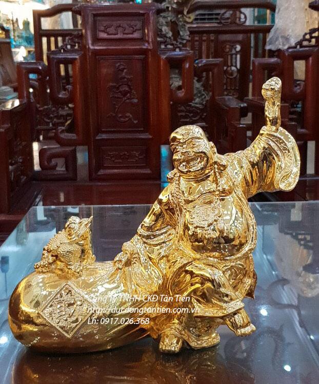 Tượng Phật Di Lặc Kéo Tiền Cao 22cm