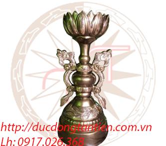 Đèn Nến Sen Đồng Đỏ Cạo Hoa Văn Nổi Cao 98cm